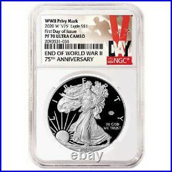 Presale 2020-W Proof $1 American Silver Eagle World War II 75th NGC PF70UC FDI