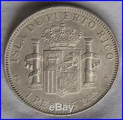 Puerto Rico 1895 Silver Peso