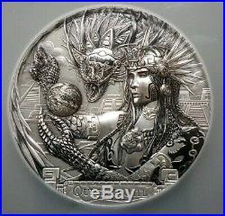 Quetzalcoatl Gods Of The World 3 Oz Silver Coin 20$ 2017 Aztec PCGS MS70.999 FS