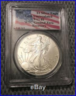 RARE 2001 1 of 269 Silver Eagle PCGS WTC World Trade Center 9/11 Recovery Gem Un