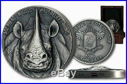 RHINO BIG FIVE 5 oz Silver Coin Antiqued Ultra High Relief Ivory Coast 2019
