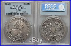 Rare 1721 K Russia Peter the Great Large silver 1 Rouble PCGS VF 35