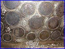 Rare Exquisite Antique silver tray German states empire 35 coin saxony 1786-1911