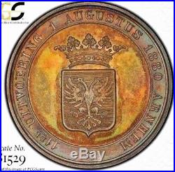 Rare & Screamingly Audacious 1880 Netherland Rampant Lion Medal Pcgs Sp65 Toned