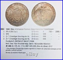 Rare Swiss 1842 Silver Shooting Thaler 4 Francs Graubunden R-836a NGC MS64