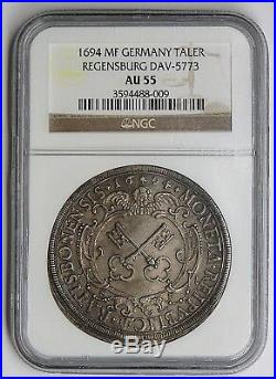 Regensburg 1694 Silver Keys Thaler NGC AU55