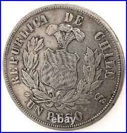 Republic Chile 1884 So (25 Gram) Un (1) Peso Silver Coin Au/ms Km#142.1. #2