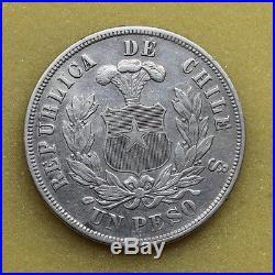 Republic Chile 1887 Un 1 Peso Silver Coin Vf/xf