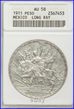 Republic Peso 1911 Long Ray, KM453, AU58 ANACS Mexico Silver Coin Caballito RARE
