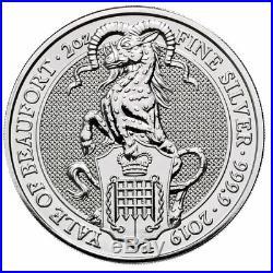 Roll of 10 2019 Britain 2 oz Silver Queen's Beasts Yale Beaufort GEM BU SKU57314