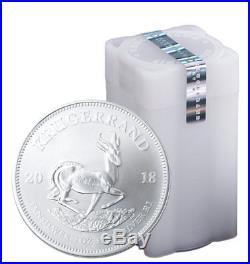 Roll of 25 2018 South Africa 1 oz Silver Krugerrand R1 Coins GEM BU SKU54610