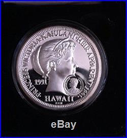 Royal Hawaiian Mint 1991 Silver Proof Princess Kaiulani CounterStamp Hawaii Dala