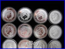 SALE! Lunar Series I (12) 1 oz. 999 Silver Coin Set Perth Mint 1999-2010