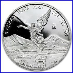 SALE PROOF LIBERTAD MEXICO 2017 5 oz Proof Silver Coin in Capsule