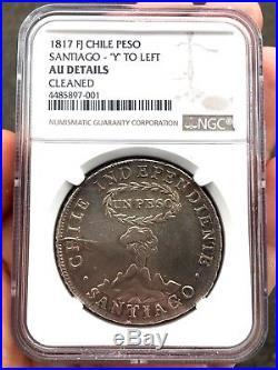 ¡¡ SCARCE! Silver coin 1 Peso independiente de Chile. 1817. F. J NGC AU