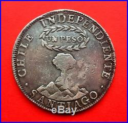 ¡¡ SCARCE! Silver coin 1 Peso independiente de Chile. 1834. Countermark YII