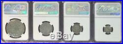 SHIP WRECK El Cazador Spanish 8 2 1 1/2 Real Silver Coin NGC 4 Coin Bulk Set