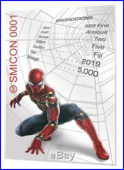 SPIDER-MAN MASK MARVEL ICON SERIES 2019 2 OZ Antiqued Pure Silver Coin Fiji
