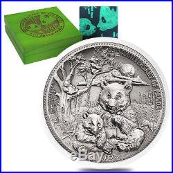 Sale Price 2017 8 oz Silver Panda Fiji $5 Coin. 999 Fine Antiqued High Relief