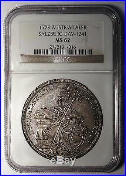 Salzburg 1729 Leopold Anton Silver Thaler NGC MS62