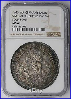 Saxe-Altenburg 1623 Four Sons Silver Thaler NGC MS61