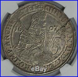 Saxony 1607 Johann Georg & August Silver Thaler NGC AU58