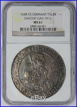 Saxony 1648 Johann George Silver Thaler NGC MS61