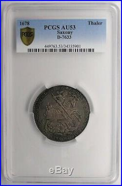 Saxony 1678 Order Of The Garter Silver Thaler PCGS AU53