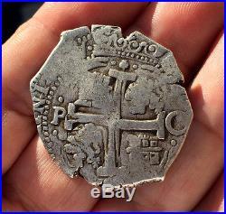 Scarce Silver Cob 8 Reales Of Carlos Ii. Mint Potosi. Assayer C. 1679