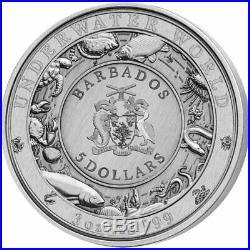 Sea Turtle Underwater World 3 oz Antigue finish Silver Coin 5$ Barbados 2018