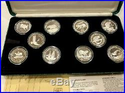 Set 25 Silver Proof Coins of 1986-1988 25th Anniversary World Wildlife Fund WWF