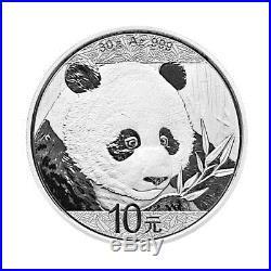 Sheet of 15 2018 China 30 g Silver Panda ¥10 GEM BU Mint Caps SKU50511