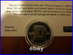 Shibe Mint 2014.999 Silver Proof Dogecoin only 2500 minted world wide