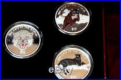 Sierra Leone $10 Sterling Silver Big Cats of the World Multi- Colored 5 coins