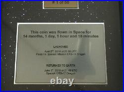 SpaceX flown silver coin- this coin spent 14 month in space! Dragon, Falcon, ISS