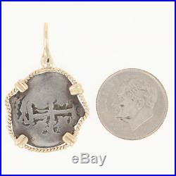 Spanish 1/2 Cob Coin Silver Pendant Shipwreck Treasure 14k Gold Frame