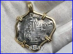 Spanish Silver 8 Reale Piece Of Eight Shipwreck Pirate Coin 14k Pendant