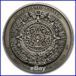 Special Price! 2017 Mexico 1 kilo Silver Aztec Calendar Antiqued Finish