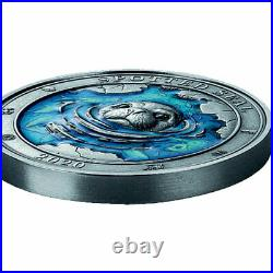 Spotted Seal Underwater World 3 oz Antique finish Silver Coin 5$ Barbados 2020