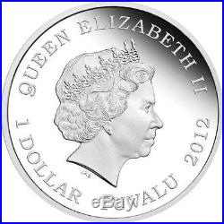 Tuvalu 2012 1$ Dragons of Legend Red Welsh Dragon 1Oz Silver. 999 Coin