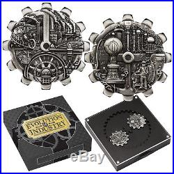 Tuvalu 2018 Evolution of Industry 2-Coin Antiqued $1 1 Oz Silver Gear-Shaped Set
