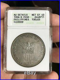 Us Philippines 1906-s One Peso Anacs Au Details (net Ef 40) Key Date Scarce