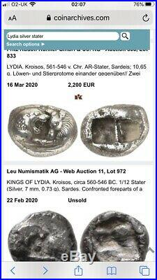 Very Rare, Lydian 11g Silver Half Stater Coin (561-564 Bc) Worlds First Coin
