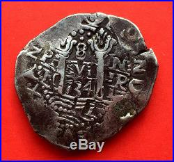 ¡¡ Very Scarce! Silver Cob 8 Reales Of Philip V. Lima. 1734. N