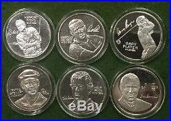 World Golf Hall of Fame 6 1ozt. 999 Silver Coins See Pictures Of Items