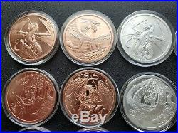 World Of Dragons All 12 Silver Rounds Aztec Welsh Chinese Norse Egyptian Indian