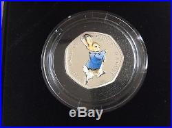 World Rarest Peter Rabbit 2017 50p Fifty Pence Silver Proof Coin. C. O. A 0700