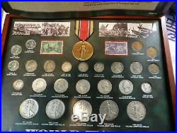 World War II Historical Collection Coin & Stamp & Victory Medal In Case