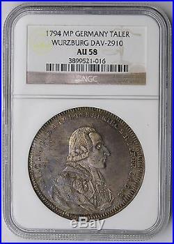 Wurzburg 1794 Franz Ludwig Silver Cherub Thaler NGC AU58